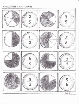 Fractions memory game and worksheet with skunks and cookies