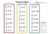 Fractions of Amounts Differentiated Worksheet