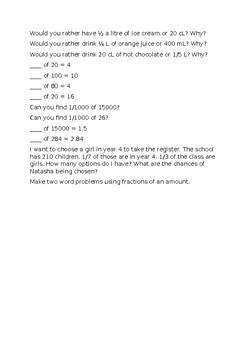 Fractions of Amounts Worksheet
