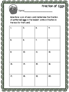 Fractions of Eggs Graphing Activity