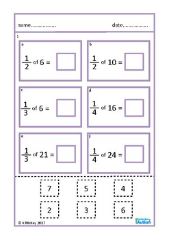 Fractions of Numbers Cut Paste Autism Special Education