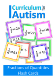 Fractions of Numbers Flash Cards Autism Special Education