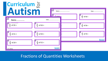 Fractions of Numbers Worksheets, Autism, Special Education, Independent Task