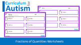 Fractions of Numbers Autism Special Education