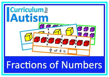 Fractions of Quantities Visual Math Task Cards, Autism, Special Education
