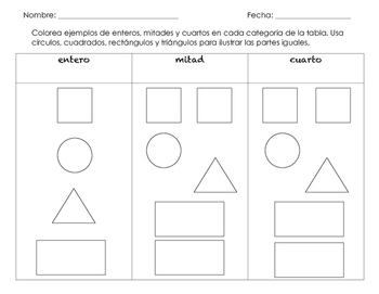 Fractions of Shapes worksheet in SPANISH