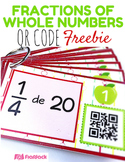 Fractions of Whole Numbers QR Code Math Fun - FREE