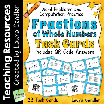 Fractions of Numbers Task Cards (with QR codes)