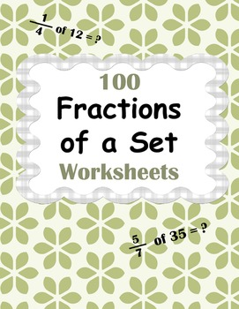 Fractions of a Set Worksheets by WhooperSwan   Teachers Pay Teachers
