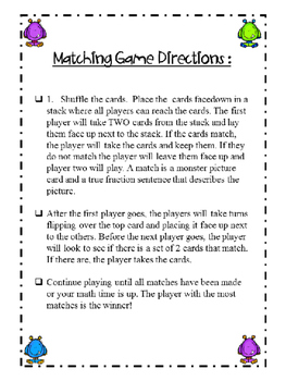 Fractions Matching Game