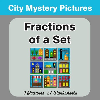 Fractions of a Set - Color-By-Number Math Mystery Pictures