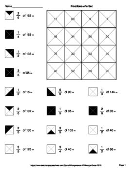Fractions of a Set - Coloring Worksheets