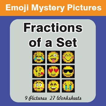 Fractions of a Set EMOJI Math Mystery Pictures