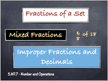 Fractions of a Set, Mixed + Improper Fractions & Decimals