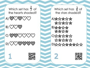 Fractions of a Set Task Cards with QR Codes