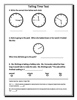 Second Grade Telling Time Assessment