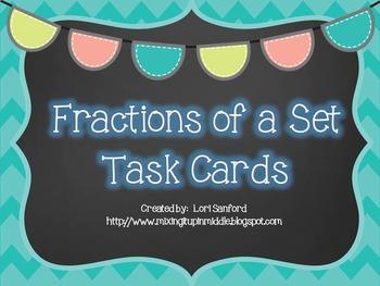 Fractions of a Number Set--Word Problem TASK CARDS