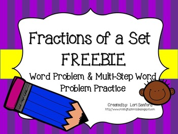 Fractions of a Set Word Problems FREEBIE