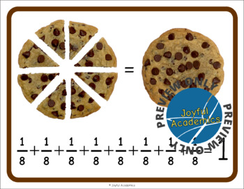 Fractions of a Whole Cookie Addition Posters