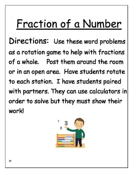 Fractions of a Whole Number-Rotation Game from Fraction/Ratio Unit