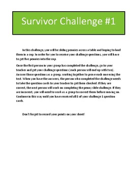 Fractions of a Whole Review Game: Survivor Theme