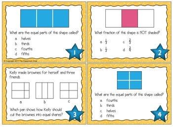 Fractions of a Whole Task Cards Grade 2-3