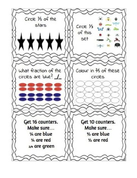 Fractions of a set. Task Cards.