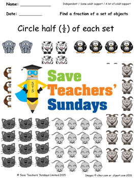 Fractions of a Set Worksheets (4 levels of difficulty)