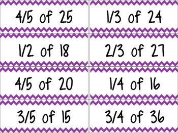 Fractions of a whole Task Cards