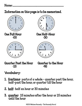 Fractions of an Hour: Quarter to, Quarter after, Half past