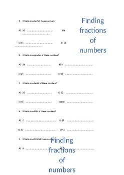 Fractions of numbers - Differentiated 3 ways