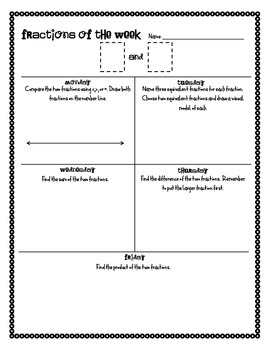 Fractions of the Week Worksheet
