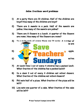 Fractions Word Problems Worksheets (4 levels of difficulty)