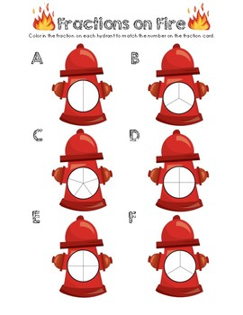 Fractions on Fire - Color the fractions Worksheet