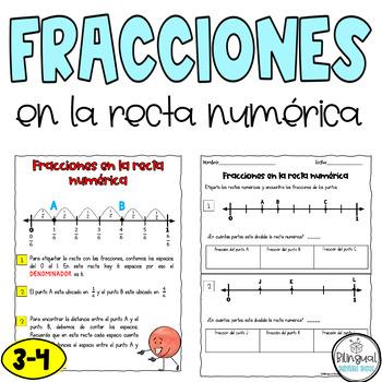 Fractions on Number Line in Spanish / Fracciones en la recta numérica