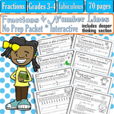 Fractions on Number Lines- No Prep Packet- Printables- Interactive- Grades 3-4