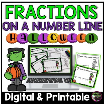 Fractions on Number Lines Task Cards: Halloween Theme
