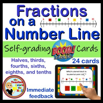 Fractions on Numbers Line Digital Practice BOOM Cards - 24 Self-checking cards!
