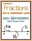 Fractions on a Number Line Worksheets, Fractions on a Number Line Practice