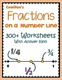 Fractions on a Number Line Worksheets, Fractions on a Numb