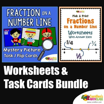 Number Line Fractions Activities, Worksheets and Task Cards Bundle