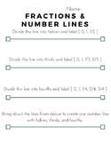 Fractions on a Number Line Worksheet