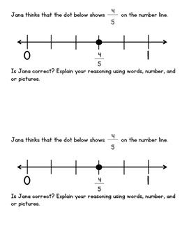 Fractions on a Number Line - 3rd Grade Assessment - 3.NF.2