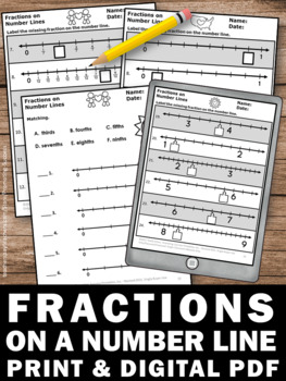 3rd Grade Fractions on a Number Line Worksheets, Valentine's Day Math  Activities