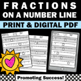 Fractions on a Number Line Worksheets 3rd Grade Math Review Distance Learning