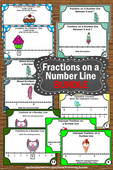 Fractions on a Number Line Activities BUNDLE Task Cards Interactive Notebook