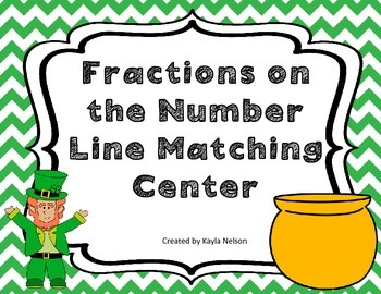 Fractions on a Number Line Center St.Patrick's Day