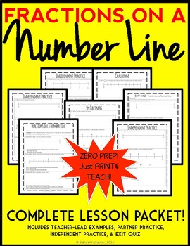 Fractions on a Number Line, Complete Lesson Packet: Guided Notes & Exit Quiz
