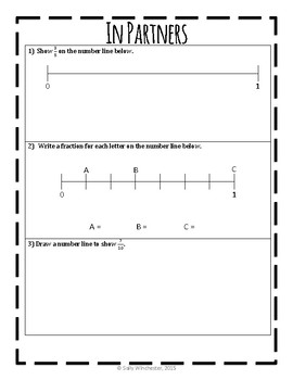 FREEBIE: Fractions on a Number Line, Complete 8-Page Lesson Packet & Exit Quiz