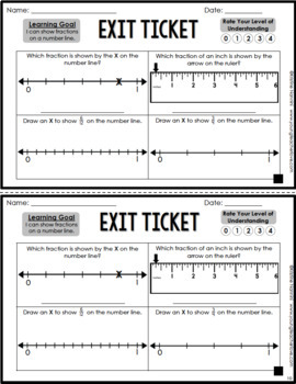Fractions on a Number Line Exit Tickets Differentiated Assessment Quick Check